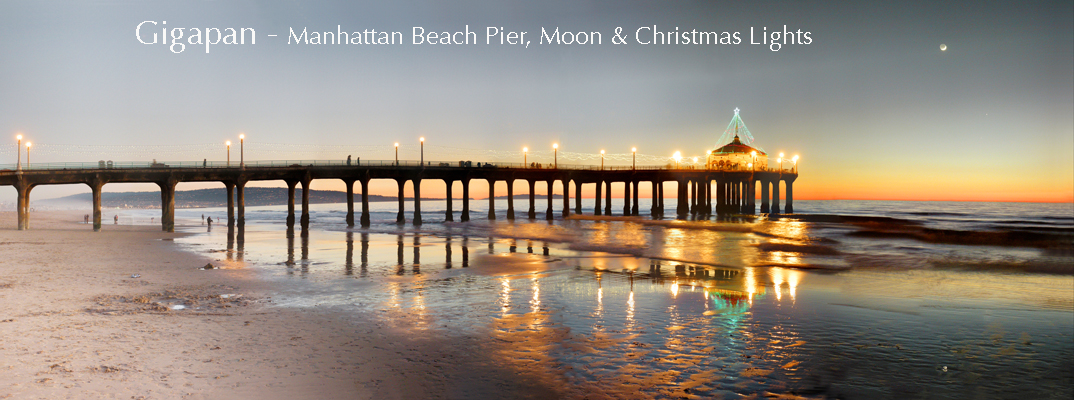 Mamhattan Beach Pier & Moon & Christmas Lights Gigapan (c)johnpost