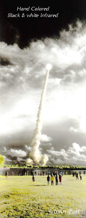 Sts 106 Launch (vt) Space Shuttle Cape Kennedy Ksc Florida Vertical Black White Infrared Hand Colored (c)johnpost
