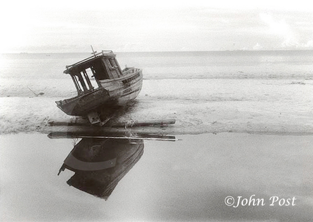 Still Life Number 1 Black and White Infrared Beached fishing Boat Panang Malaysia sandbar seascape (c)John Post